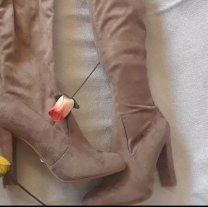 Light Brown Suede Thigh High Boots